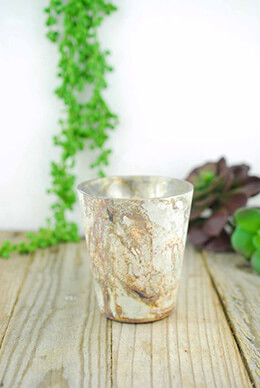 Marbled Votive Holder Gold 3.5x4in (Set of 6)