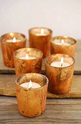 6 Copper Marbled Sassi Votive Candleholders   2.75""