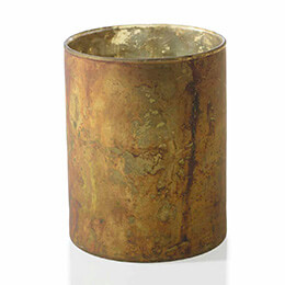Marbled Votive Holder Copper 4.75x6in