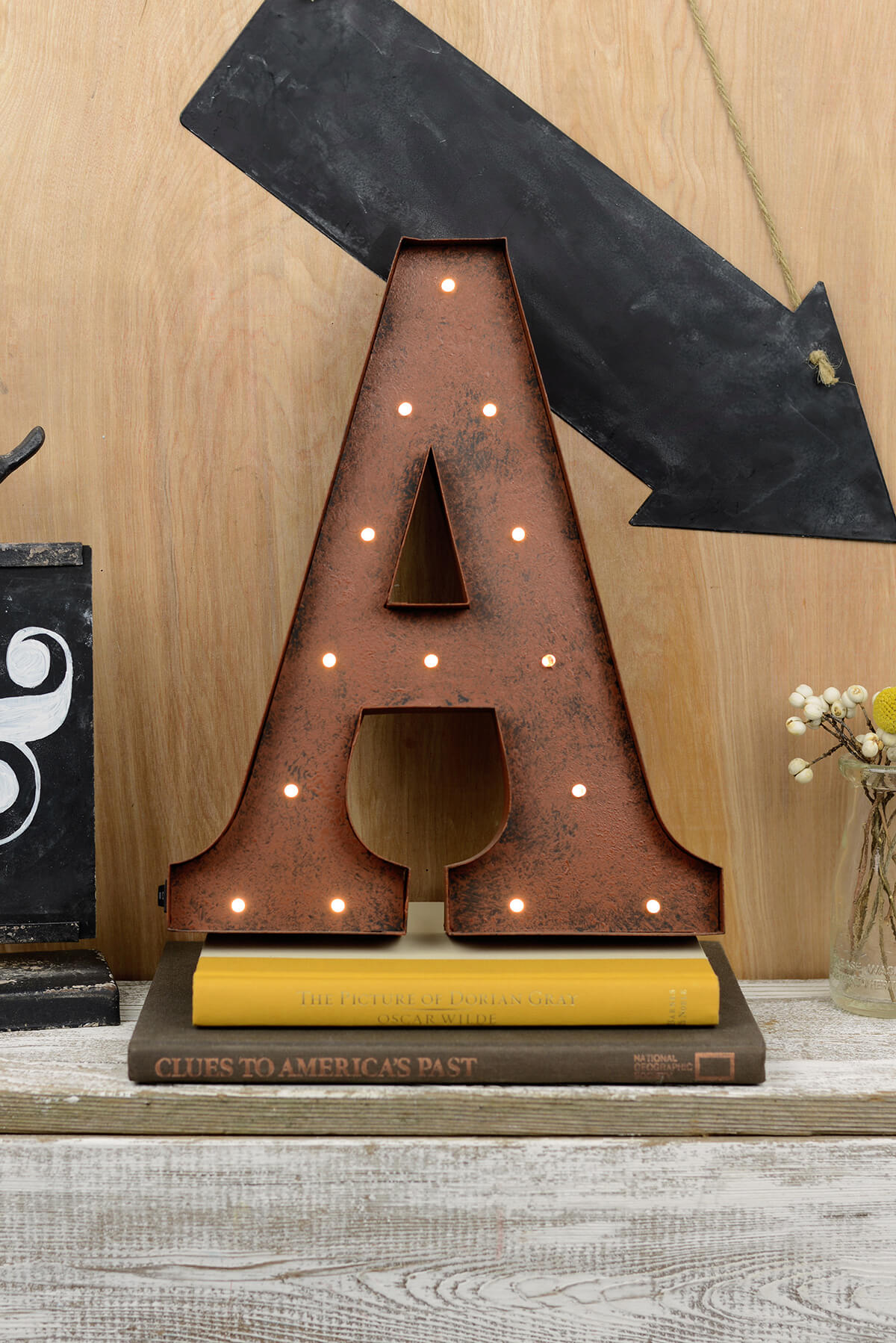 marquee letters a led lighted 12in metal letter battery oper rustic finish