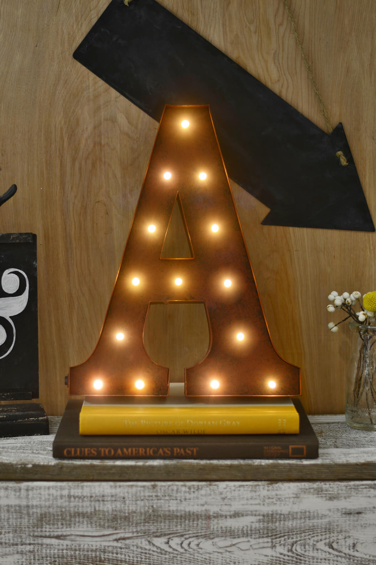 marquee letters a led lighted 12in metal letter battery oper rustic