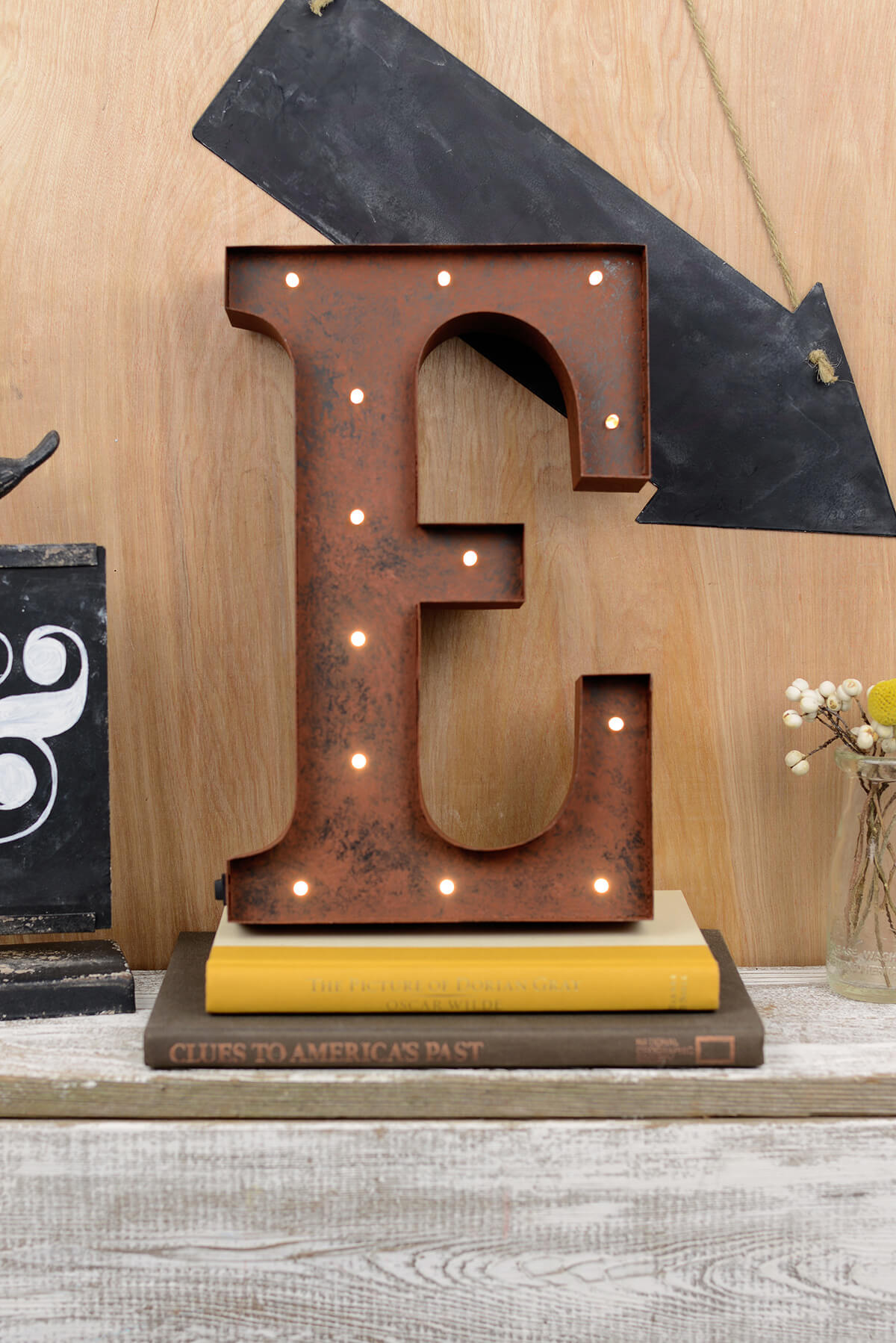 marquee letters e 12in battery operated 17 warm white led lights