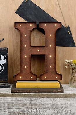 Marquee Letter H 12in Battery Operated 17 Warm White LED Lights