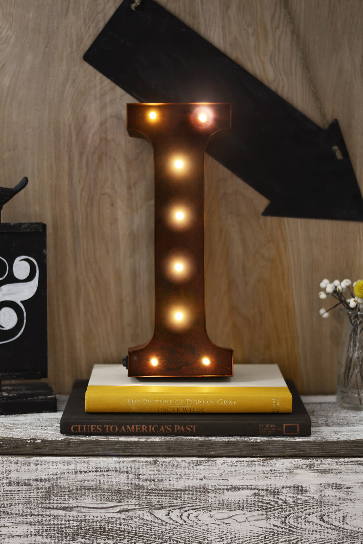 marquee letters 12in i led lighted metal letter with rustic brown finish battery operated