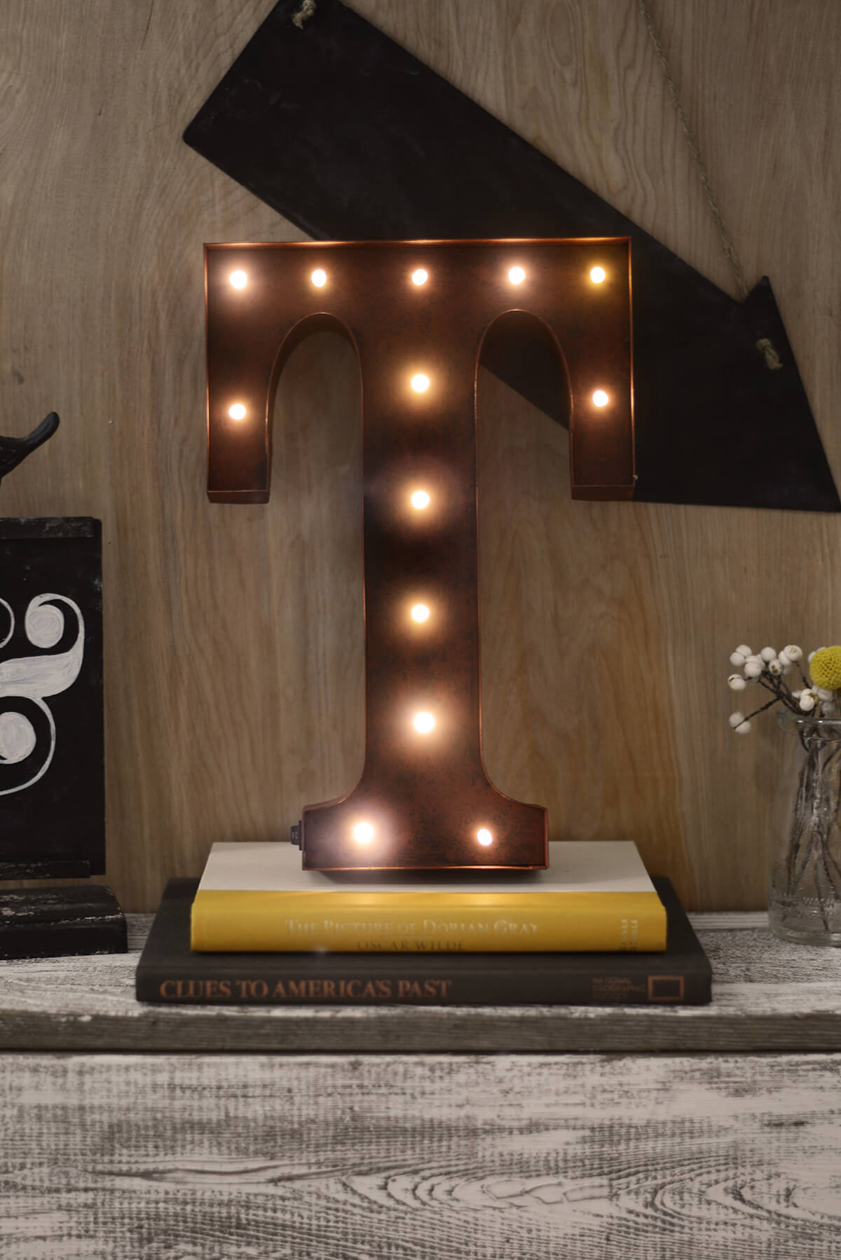 marquee letters t 12in battery operated 17 warm white led lights