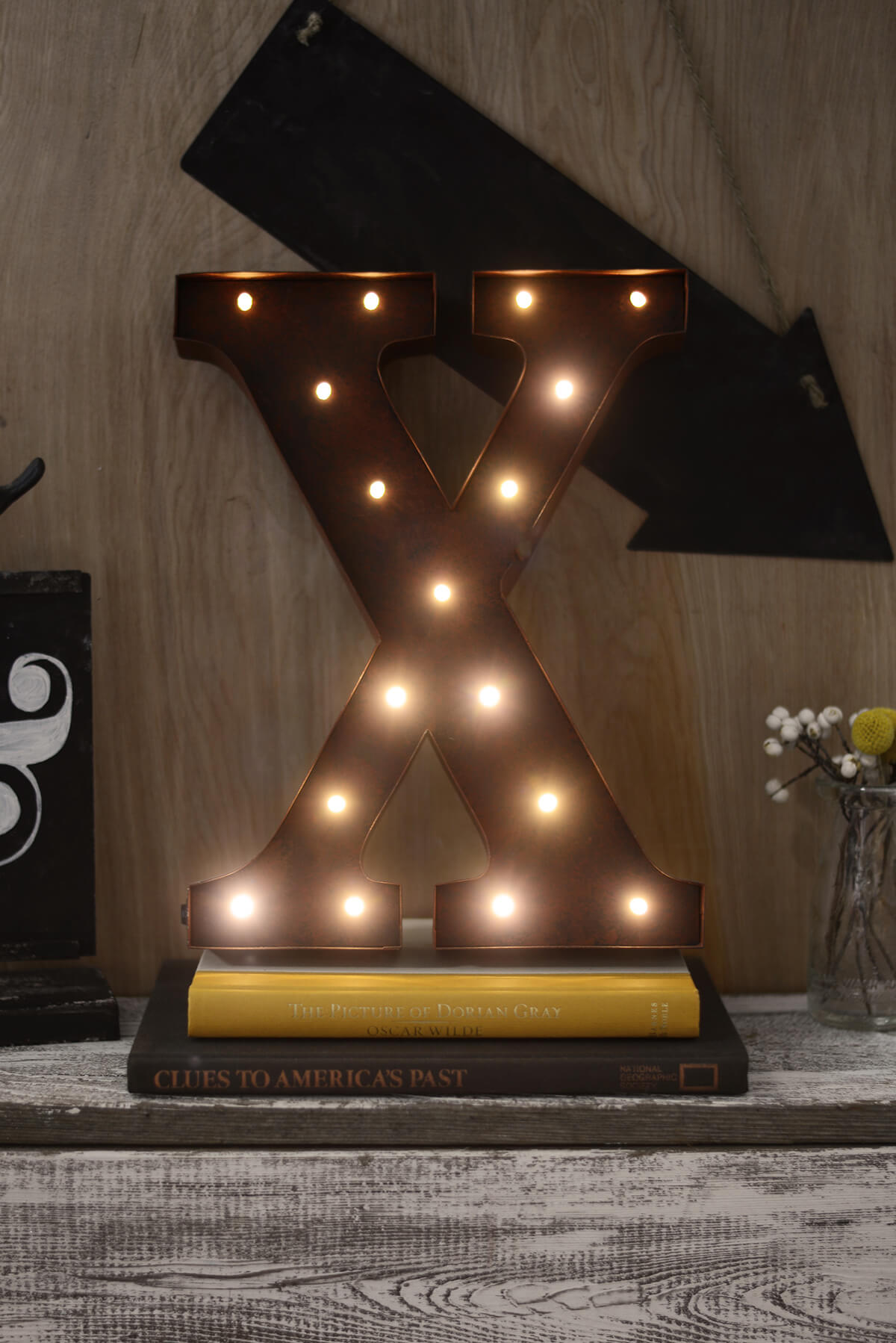 Letters X 12in Battery Operated 17 Warm White LED Lights