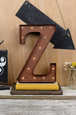 Marquee Letters Z 12in Battery Operated 17 Warm White LED Lights