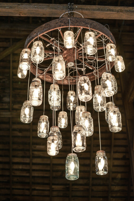 Gerson electric lighted clear mason jar with antique light for Build your own chandelier