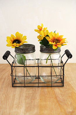 Mason Jar Vase with Frog Lid (Set of 2 Jars)