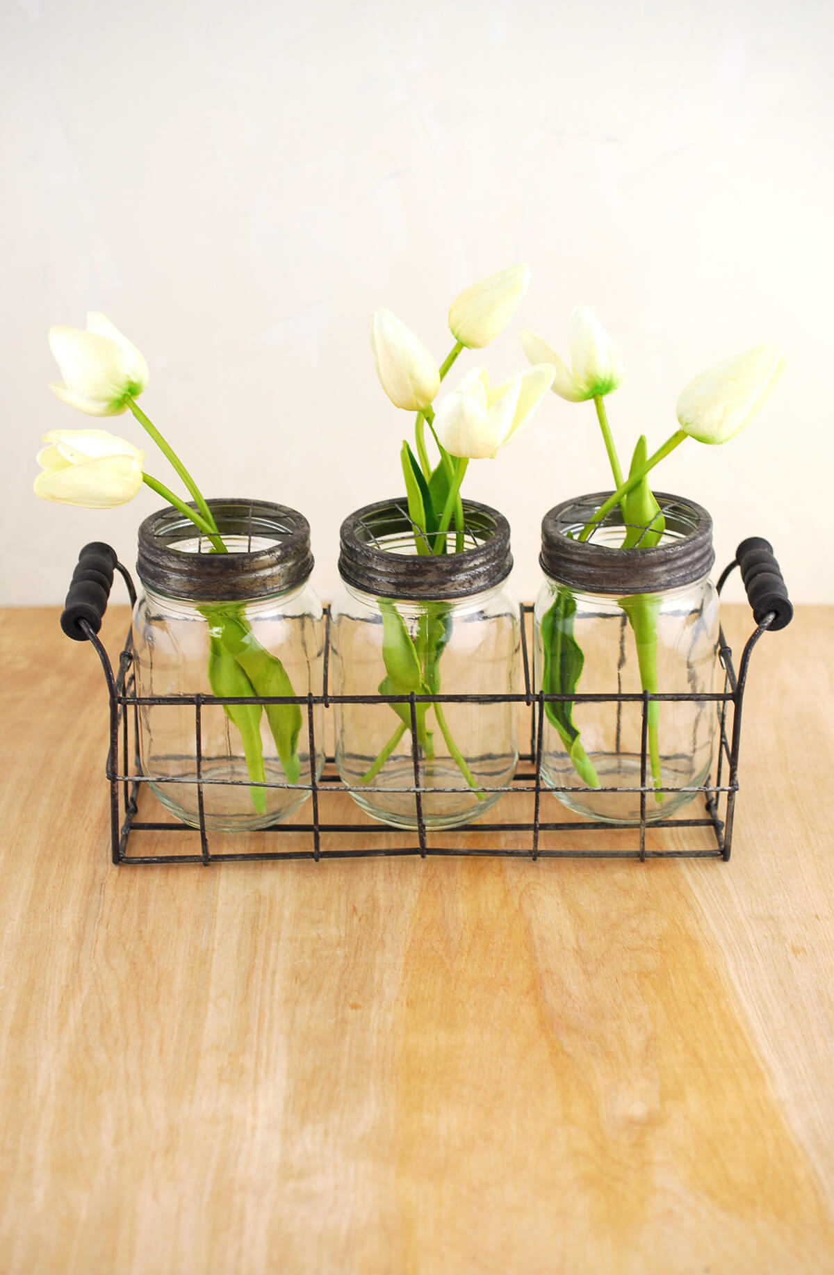 Wire Basket with 3 Glass Mason Jars with Frog Lids