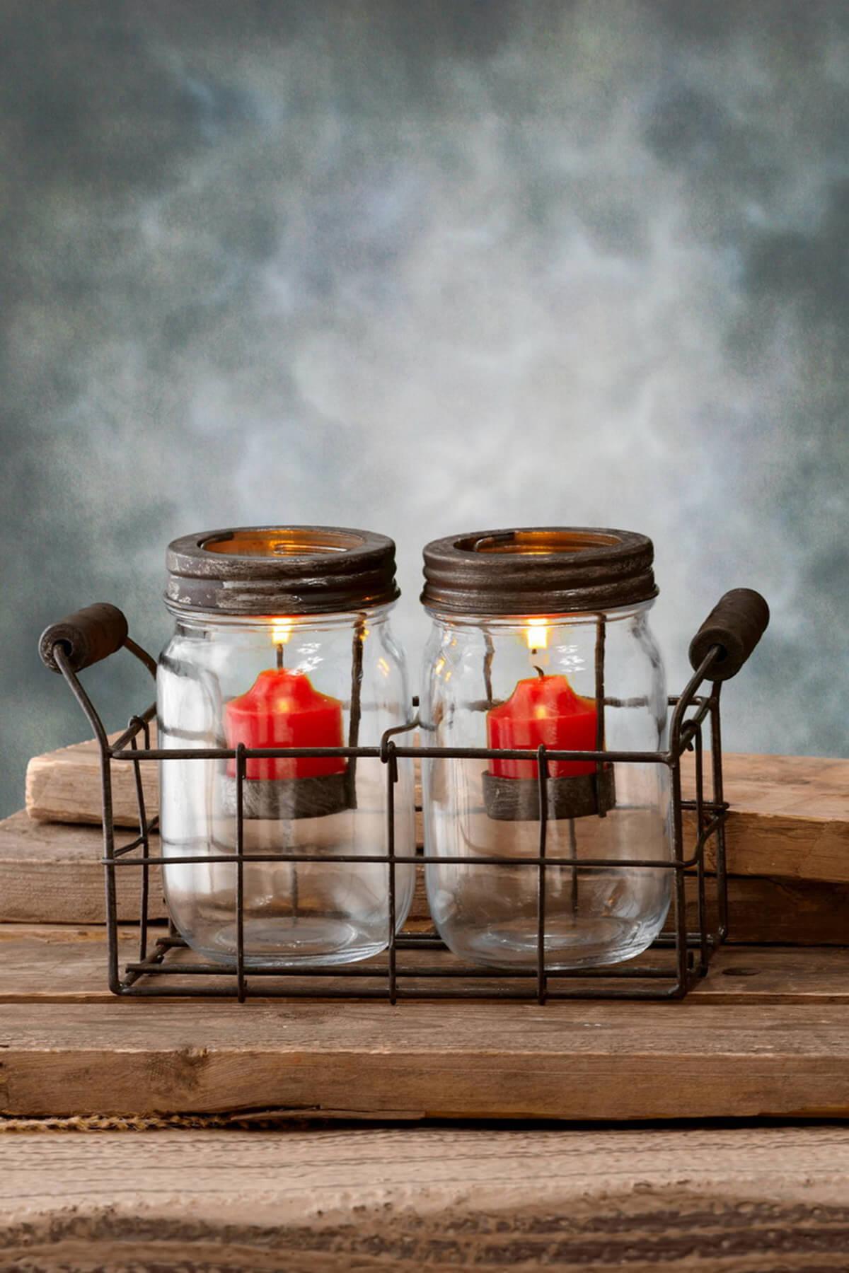 Mason Jar Votive Holders Brown 5in Set Of 2 Jars