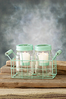 Mason Jar Votive Holders Mint 5in (Set of 2 Jars)