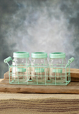 Mason Jar Votive Holders Mint 5in (Set of 3 Jars)
