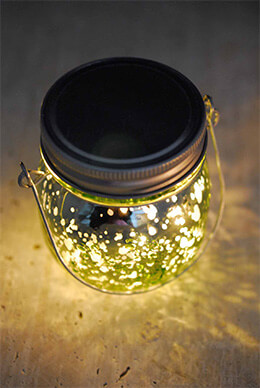 "Green Mercury Glass Mason Jar 3.5"" with LED Lights Battery Operated"