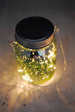 Jar Mason with LED Lights Green 5.25in