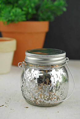 Mason Jar with LED Lights Silver 3.5in