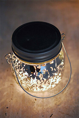 "Silver Mercury Glass Mason Jar 3.5"" with LED Lights  Battery Operated"