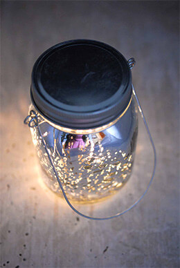 "Silver Mercury Glass Mason Jar 5.25"" with LED Lights Battery Operated"