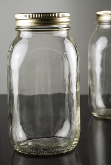 Smooth Mason Jars Quart Size | Case of 12