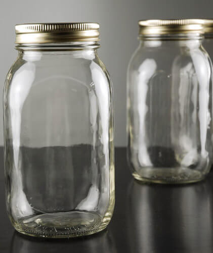 Smooth Mason Jars Quart Size | Case of 12