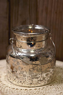 "Mercury Glass Etched 4.75"" Candle Holder"