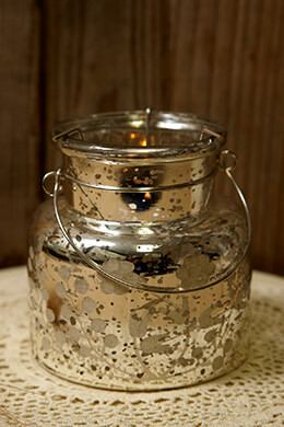 Mercury Glass Candle Holder 4.75in