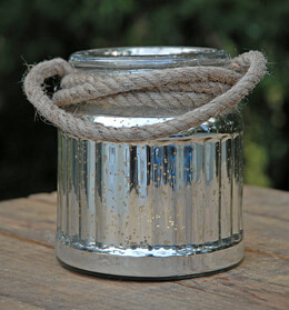 Mercury Glass Candle Holder Jar 6in