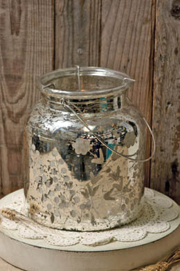 "Mercury Glass Candle Holder Lantern 8.5"""