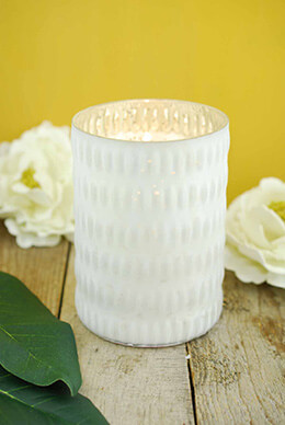 Mercury Glass Candle Holder White 5.5in