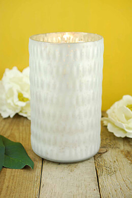 Mercury Glass Candle Holder White 7.5in