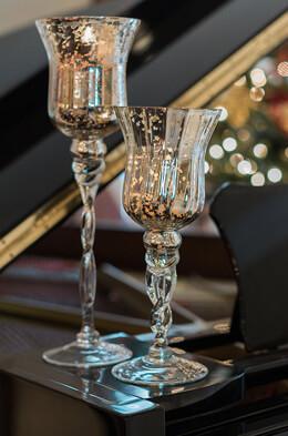 "3 Mercury Glass Pedestal Candle Holders  16"", 14"", 12"""