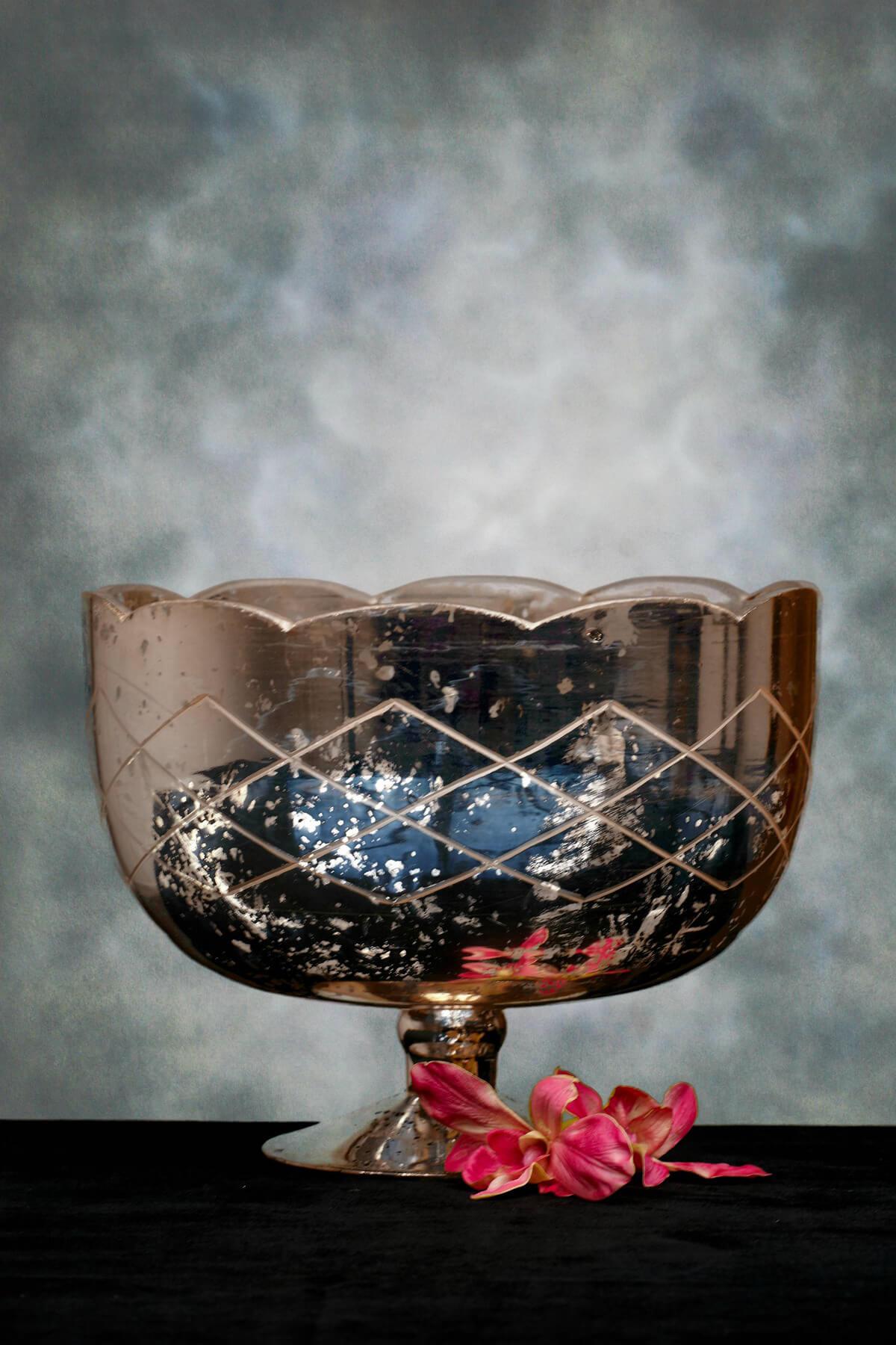 Mercury Glass Compote Silver 11x8.5in