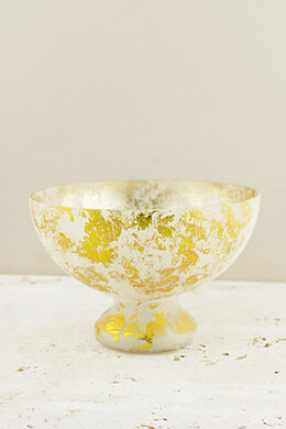 Mercury Glass Compote Bowl Frosted Gold 7x5in