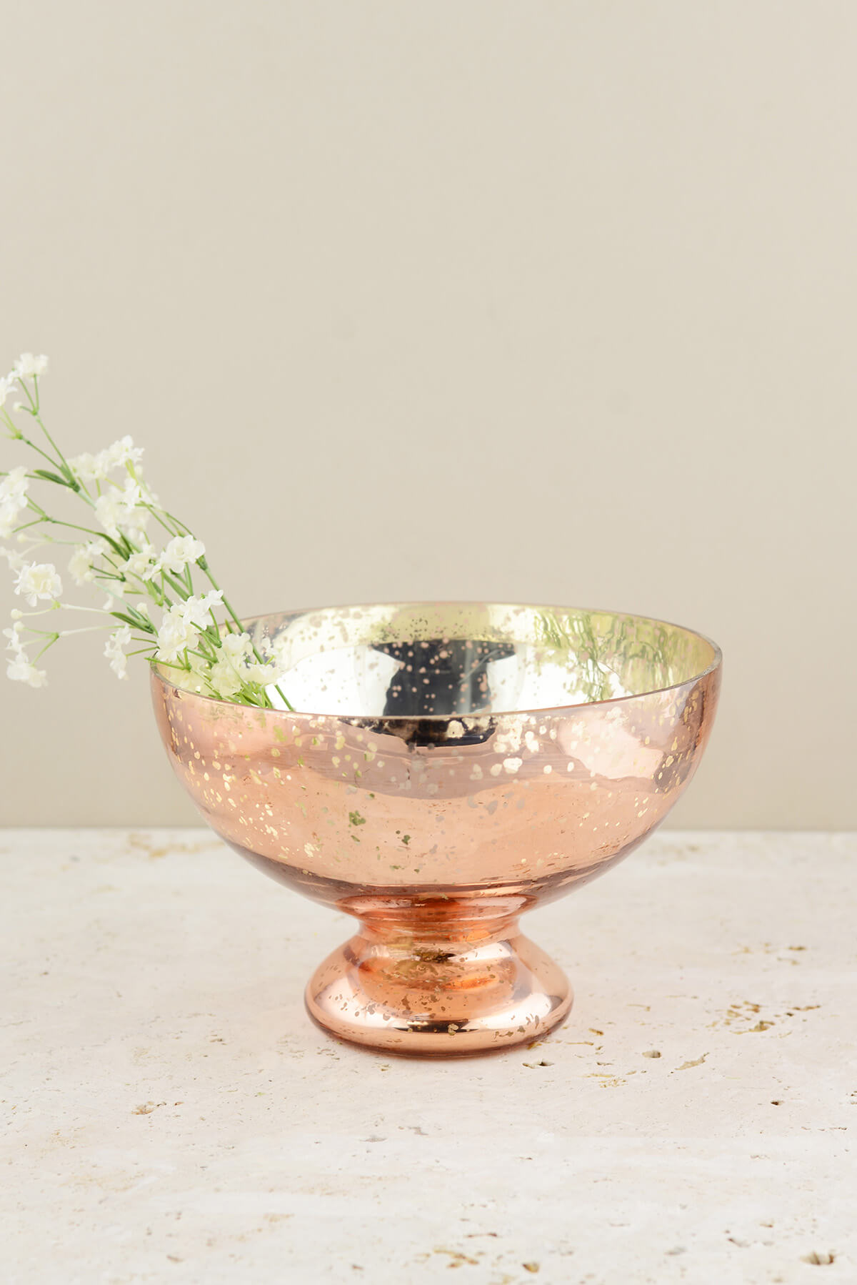 Mercury Glass Compote Bowl Blush Rose Gold 7x5in