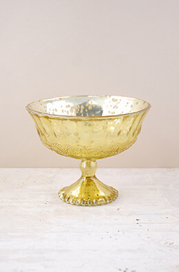 Mercury Glass Compote Gold 7x5.25in