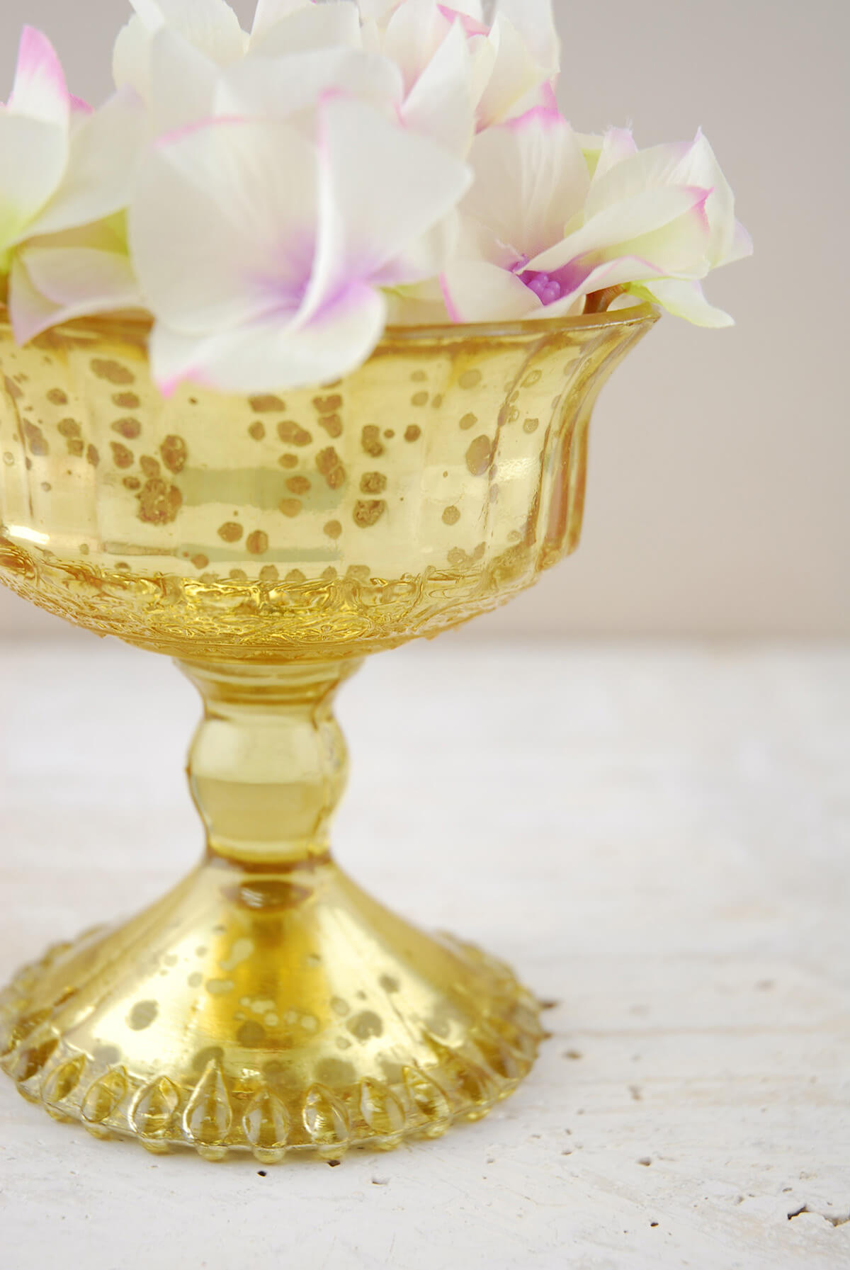 Mercury Glass Compote Gold 4 5in