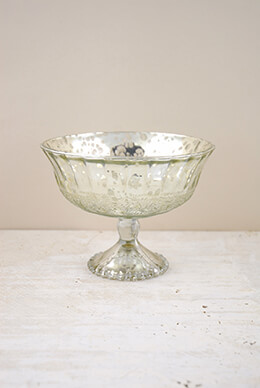 Mercury Glass Compote Silver 7x5.25in