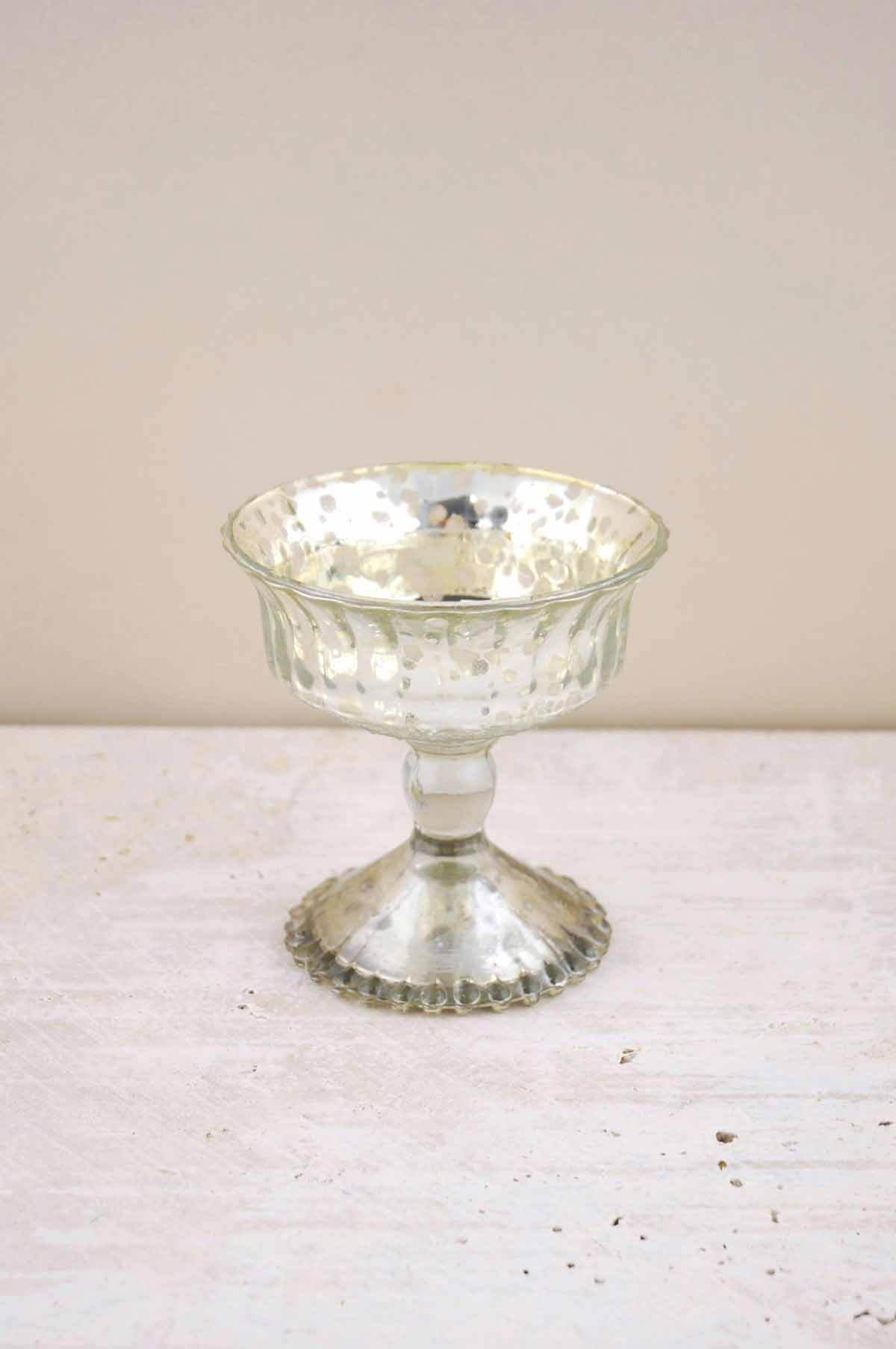 Silver Mercury Glass Compote  4.75in