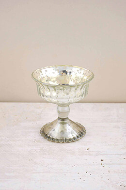 Mercury Glass Compote Silver 4.75in