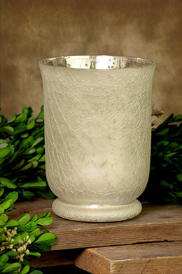 Mercury Glass Hurricane Vase Frosted 6in