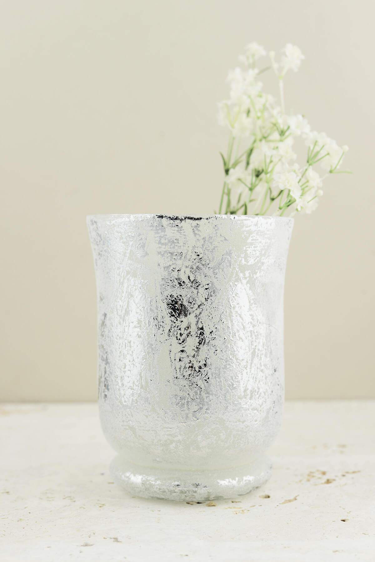 "Frosted Mercury Glass Hurricane Vase& Candleholder  6"""