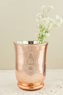 Blush Rose Gold Mercury Glass Vase & Candleholder  6in