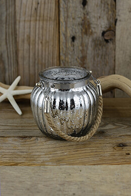 Mercury Glass Jar Silver 3.75in