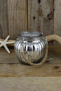 Mercury Glass Jar Silver 3.75in