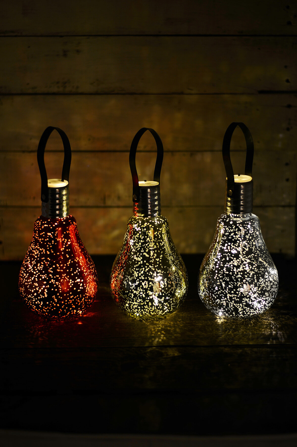 3 Mercury Glass Light Bulbs Christmas Ornaments Battery Op