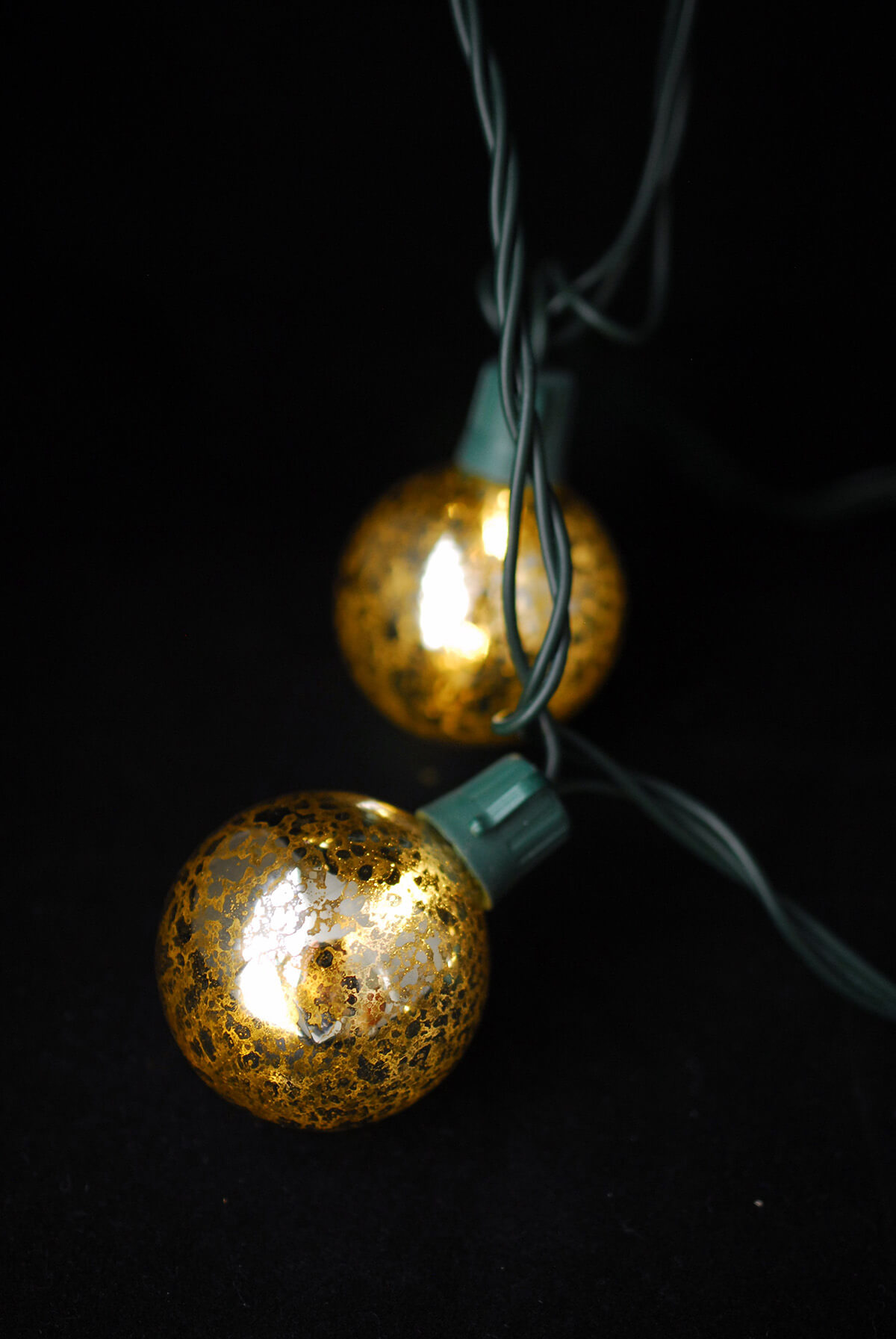 Gold Mercury String Lights : Mercury Glass Globe String Lights 10ct - 9ft Green Cord