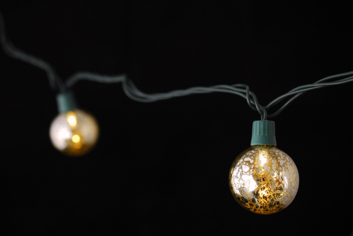Glass String Lights Outdoor : Mercury Glass Globe String Lights 10ct - 9ft Green Cord
