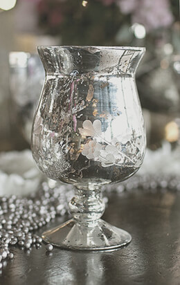 Ivy Vase & Candleholder Mercury Glass Silver 6.75in
