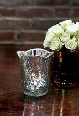 Array Mercury Glass Silver Votive Candle Holder