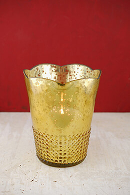 Mercury Glass Votive Cup Gold 7.5in